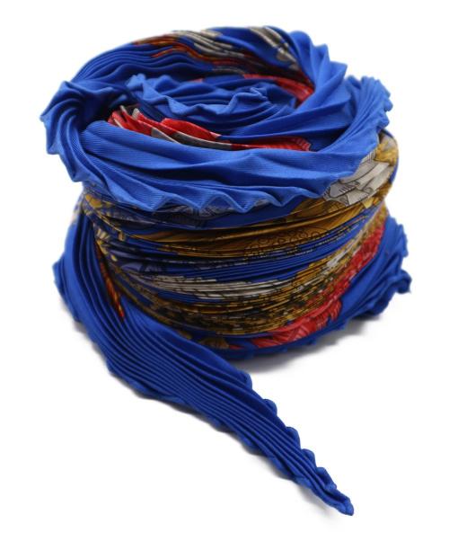 HERMES(エルメス)HERMES (エルメス) カレプリーツスカーフ ブルーの古着・服飾アイテム