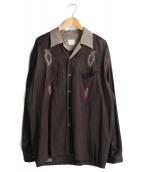 FILL THE BILL(フィルザビル)の古着「フェザーワークオープンカラーシャツ」 ブラウン