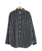 POST OALLS(ポストオーバーオールズ)の古着「刺繍長袖シャツ」|ブラック