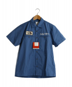THE NORTH FACE(ザノースフェイス)の古着「LOGO BADGE SHIRT」|ブルー