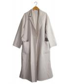 allureville(アルアバイル)の古着「ウールリバーロングコート」|アイボリー
