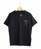 PRADA SPORTS(プラダスポーツ)の古着「VネックポケットTシャツ」|ブラック