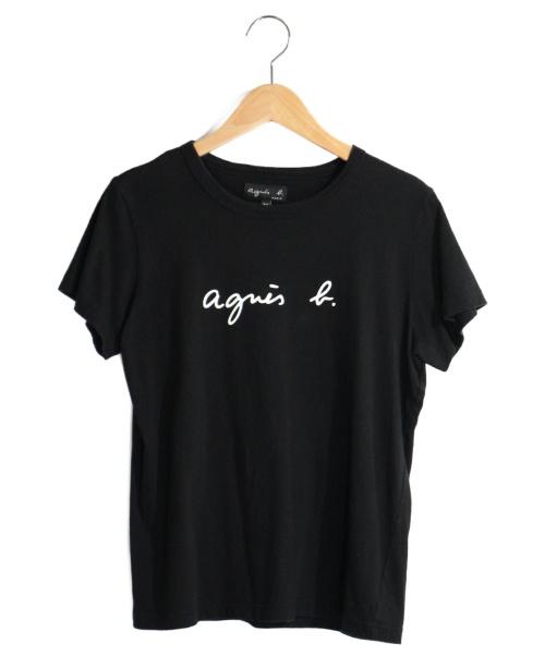 agnes b.(アニエスベー)agnes b. (アニエスベー) ロゴプリントTシャツ ブラック サイズ:T2の古着・服飾アイテム