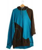 GANRYU(ガンリュウ)の古着「変形プルオーバーパーカー」|ブルー×ブラウン