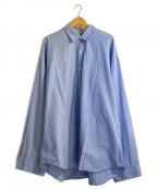 DRESSEDUNDRESSED(ドレスドアンドレスド)の古着「PINSTRIPE COLOR BLOCK SHIRT」 サックスブルー