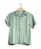 CALEE(キャリー)の古着「刺繍オープンカラーシャツ」|グリーン