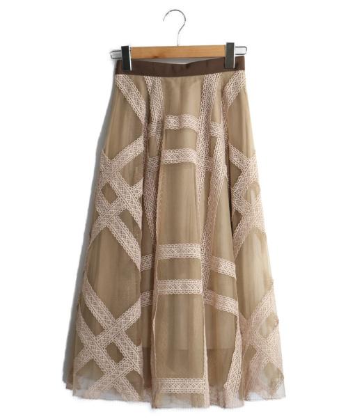 Snidel(スナイデル)Snidel (スナイデル) エンブロイダリーチェックスカート ベージュの古着・服飾アイテム