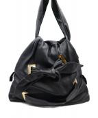 EMPORIO ARMANI EA7(エンポリオ アルマーニ イーエーセブン)の古着「ソフトレザーリボンハンドバッグ」|ブラック