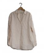 Max Mara WEEK END LINE(マックスマーラウイークエンドライン)の古着「オーバーサイズリネンストライプシャツ」|ピンク×ホワイト