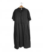 bulle de savon(ビュル デ サボン)の古着「リネンシャツワンピース」|グレー