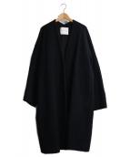 Adam et Rope(アダムエロペ)の古着「モヘアシャギーノーカラーコート」|ブラック