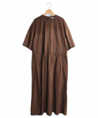 currentage(カレンテージ)の古着「ロングギャザードレス」|ブラウン