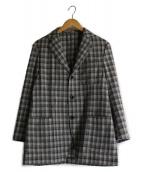 LARDINI(ラルディーニ)の古着「ウールカシミヤチェックジャケット」|グレー