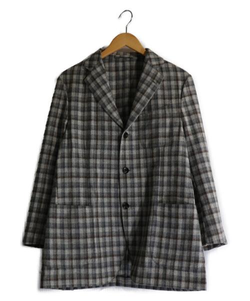 LARDINI(ラルディーニ)LARDINI (ラルディーニ) ウールカシミヤチェックジャケット グレー サイズ:48の古着・服飾アイテム