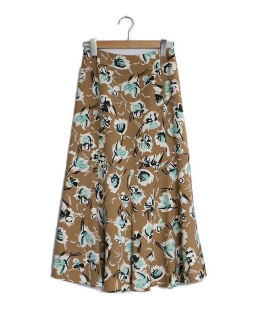 TOMORROW LAND(トゥモローランド)TOMORROW LAND (トゥモローランド) スクリーブルフラワープリントマーメイドスカート ブラウン サイズ:34 スカート マーメイドスカート ロングスカートの古着・服飾アイテム