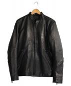 1piu1uguale3 relax(ウノ ピゥ ウノ ウグァーレ トレ リラックス)の古着「ストレッチレザーシングルライダースジャケット」|ブラック