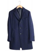 Harris Tweed(ハリスツイード)の古着「ツイードミドルチェスターコート」|ネイビー