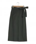 TOMORROW LAND collection(トゥモローランドコレクション)の古着「リバースツイルストレッチ ボックスプリーツスカート」|グリーン