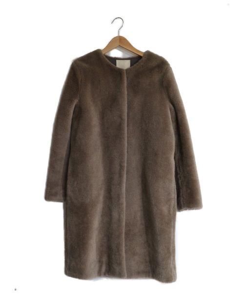 自由区(ジユウク)自由区 (ジユウク) ウールムートンロングコート ブラウン サイズ:38 コート ノーカラー ボアの古着・服飾アイテム