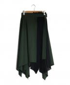 ADEAM(アディアム)の古着「プリーツ切替スカート」|グリーン
