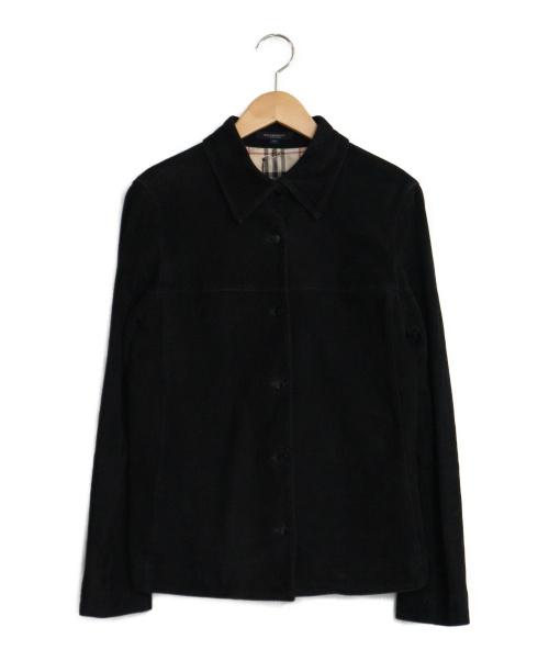 BURBERRY LONDON(バーバリーロンドン)BURBERRY LONDON (バーバリーロンドン) シープスエードシャツ ブラック サイズ:38 シャツ スウェード シープスキン ノヴァチェックの古着・服飾アイテム