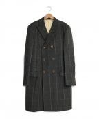 D&G(ドルチェ&ガッバーナ)の古着「オールドチェックダブルウールチェスターコート」|グレー