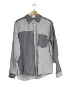 FRANK LEDER(フランクリーダー)の古着「ブロックカラ-リネンシャツ」 グレー