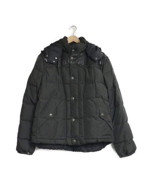 POLO RALPH LAUREN(ポロ・ラルフローレン)POLO RALPH LAUREN (ポロラルフローレン) レザーウエスタンヨークダウンジャケット ブラック サイズ:Lの古着・服飾アイテム