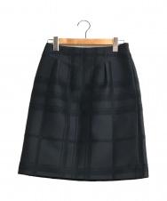 BURBERRY LONDON (バーバリーロンドン) チェックスカート ネイビー サイズ:38 チェック タック スカート