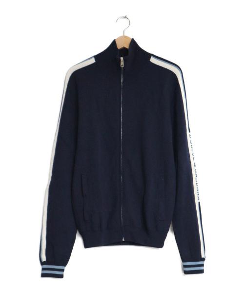 DOLCE & GABBANA(ドルチェ&ガッバーナ)DOLCE & GABBANA (ドルチェ&ガッバーナ) ロゴラインスリーブニットジャケット ネイビー サイズ:46 ジップジャケット ブルゾン 袖ロゴの古着・服飾アイテム