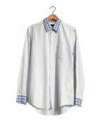 ()の古着「切替ストライプシャツ」 ブルー×ホワイト