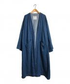 GRANDMA MAMA DAUGHTER(グランマママドーター)の古着「ノーカラーコート」|インディゴ