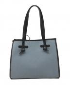 GIANNI CHIARINI(ジャンニキャリーニ)の古着「MARCELLA/レザーパイピングキャンバスハンドバッグ」 スカイブルー