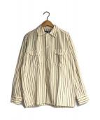 CDG JUNYA WATANABE MAN×POST O'ALLS(シーディージー ジュンヤワタナベ×ポストオーバーオールズ)の古着「ストライプシャツ」 ベージュ