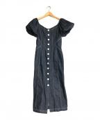 HER LIP TO(ハーリップトゥ)の古着「パフスリーブデニムドレスワンピース」|インディゴ