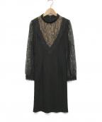 EmiriaWiz(エミリアウィズ)の古着「レーススリーブ切替ワンピース」 ブラック