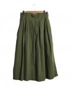 GRANDMA MAMA DAUGHTER(グランマママドーター)の古着「コットンリネンプリーツスカート」 グリーン