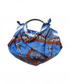 manipuri(マニプリ)の古着「スカーフハンドバッグ」 ブルー×ホワイト