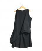 YOKO CHAN()の古着「アシンメトリーノースリーブチュニックワンピース」|ブラック