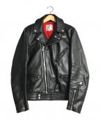 Lewis Leathers(ルイスレザース)の古着「サイクロンダブルカウレザーライダースジャケット」 ブラック