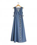 HER LIP TO(ハーリップトゥ)の古着「テンセルデニムロングドレス」|ブルー