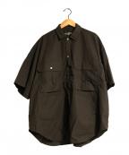 HAVERSACK(ハバーサック)の古着「高密度タイプライターサファリシャツ」 ブラウン