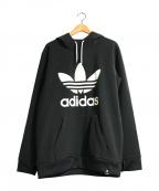 adidas Originals(アディダスオリジナル)の古着「トレフォイルロゴプルオーバーパーカー」 ブラック×ホワイト