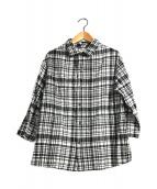 ()の古着「チェックガーゼシャツ」 ホワイト×ブラック