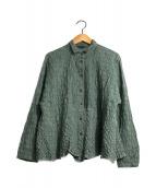 ()の古着「プリーツシワ加工シャツ」 グリーン