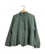 Cotton House Aya(コットンハウス アヤ)の古着「プリーツシワ加工シャツ」 グリーン