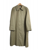 ()の古着「裏ノヴァチェックステンカラーコート」 カーキ
