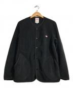 DANTON(ダントン)の古着「ノーカラーフリースカーディガン」 ブラック