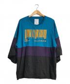 SHAREEF(シャリーフ)の古着「バーコドシャツ」|ブルー×パープル