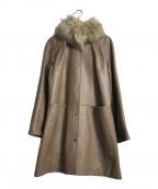 POSH ALMA(ポッシュアロマ)の古着「ファーティペット付ラムレザーコート」|ブラウン